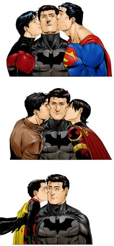 This is just downright adorable: Supes and Nightwing, Red Hood and Red Robin, then Nightwing making Robin.