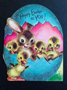 Unused 1940s Marjorie Cooper VTG Easter Die Cut Card Rabbit Baby Ducks 1949