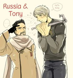 Hetalia and Avengers, Tony and Russia. My two favorite people :D