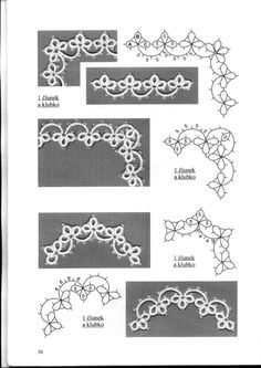 Tatted lace edgings: corners and curves ~~ Gallery.This Pin was discovered by sve Tatting Jewelry, Lace Jewelry, Tatting Lace, Shuttle Tatting Patterns, Needle Tatting Patterns, Needle Lace, Bobbin Lace, Crochet Doilies, Crochet Lace