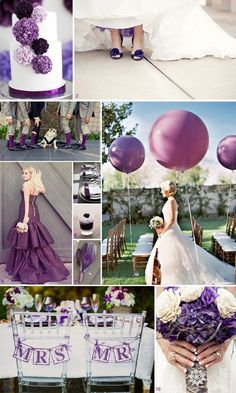Purple with hints of white and silver mood board. Great ideas for your wedding!