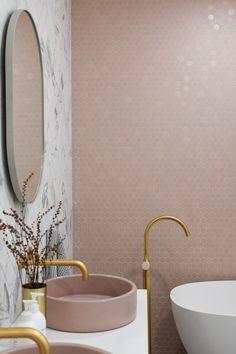 norsu home – style the norsu look. pink tiles , pink basin, brass tapware norsu home – style the norsu look. Pink Bathroom Tiles, Pink Tiles, Bathroom Mirrors, Small Bathroom, Master Bathroom, Blush Bathroom, Pink Bathrooms, Bathroom Furniture, Bathroom Marble
