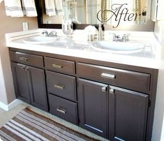builders grade bathroom makeover with painted cabinets love this color the paint color is valspars latex betsy ross house brown in the soft gloss - Bathroom Cabinets Colors