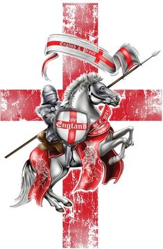 Men's T-Shirt England Knight & Horse St George's Proud English Loyalty Print St George Flag, Saint George, Happy St George's Day, England Tattoo, English Knights, Knight On Horse, Knight Tattoo, St Georges Day, Crusader Knight