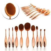 10Pcs Soft Oval Toothbrush Makeup Brush Set Power Foundation Brushes Tool Gold