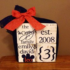 Wooden block set! Can be personalized for family or baby. $26 Great wedding, housewarming, or newborn gift (baby example coming soon) Place your order today!