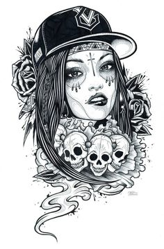 Adam Isaac Jackson Drawings Trash glamour by adam isaac – Graffiti World Kunst Tattoos, Chicano Tattoos, Skull Tattoos, Tattoo Drawings, Girl Tattoos, Art Drawings, Chicano Drawings, Tattos, Adam Isaac Jackson