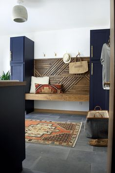 DIY Geometric Wood Feature Wall with Floating Bench /dark cabinets / entryway / mud room Interior Decorating, Interior Design, Interior Door, Cafe Interior, The Design Files, Wood Doors, Slab Doors, Barn Doors, Decoration