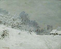 My dream life. Living in Winter Wonderland once again. Claude Monet, Snow near Honfleur, 1867