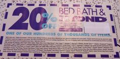 Bed Bath Beyond Coupon 20% Off One Single Item Valid In Store Use Only Fast Ship