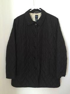 Womens GAP Black Quilted Jacket Coat XL Extra Large Button Front Mid Length EUC #GAP #BasicCoat