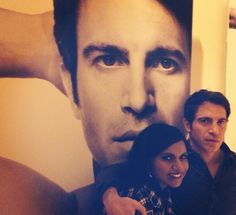 Mindy Kaling (Mindy Lahiri) and Chris Messina (Danny Castellano) on the set of The Mindy Project.