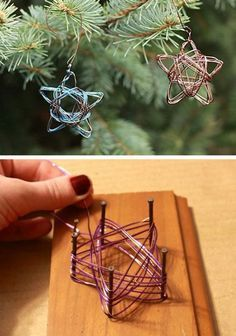 From Old Cable Spool To New Library Table Read more: DIY Home Decor Crafts - Easy Home Decorating Craft Ideas - Country Living Christmas diy,Christmas Ornaments,DIY Christmas Season,NOEL, Noel Christmas, Diy Christmas Ornaments, Christmas Decorations To Make, Homemade Christmas, Winter Christmas, Homemade Ornaments, Star Decorations, Wire Crafts, Christmas Projects