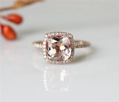 ...but in white gold...Classical Morganite Engagement Ring 8mm Cushion Cut Pink Morganite Ring