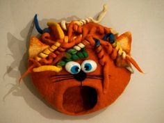 Cat bed/ cat cave/ cat house/ Felted cat house Curly by VaivaIndre