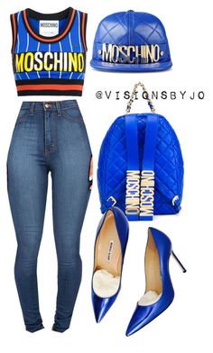 """Untitled #1158"" by visionsbyjo on Polyvore featuring Moschino and Manolo Blahnik"