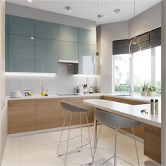 25 Easy And Simple Soft Grey Cabinet Design Ideas For Your Kitchen. To help you with that here are 20 stunning kitchen design ideas with grey cabinets specifically. They span across multiple Blue Kitchen Interior, Blue Kitchen Designs, Blue Kitchen Decor, Green Kitchen, Glossy Kitchen, Kitchen White, Modern Apartment Design, Home Interior Design, Condo Interior