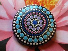 "Mandala Stone Hand Painted River Rock ~ Energy ~ Meditation ""LADY"" Upper Chakras ~ Purple Blue White ~ Dot Painting by WrenStones on Etsy"