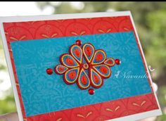 Handmade Greeting Card with Red and Blue Paper by NavankaCreations