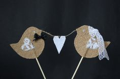 Wedding cake topper - love bird Mr & Mrs cake topper for rustic hessian wedding and lace theme on Etsy, $17.39