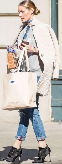 Olivia Palermo: Sunglasses – Fendi  Sweatshirt – Sportmax  Shoes – Jimmy Choo  Purse – Anaelee  Jeans – Paige  Watch – Audemars Piguet
