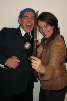 Katnis and Cesar from the hunger games. Home made costumes from our closet and the thrift store.
