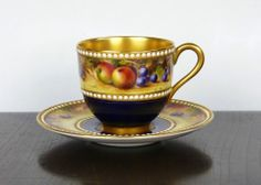 Royal Worcester Jewelled and Fruit Painted Cup and Saucer by R. Rushton C. 1923