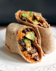 16. Sweet Potato and Black Bean Breakfast Burrito #healthy #breakfast #recipes https://greatist.com/health/healthy-fast-breakfast-recipes