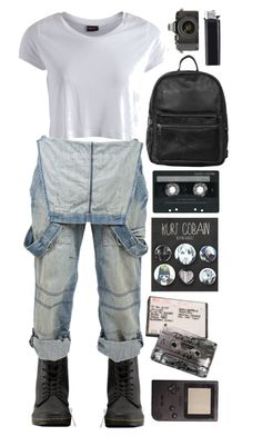 """""""Kurt Cobain"""" by aaegia ❤ liked on Polyvore featuring Dr. Martens, Pieces, Crafted, Topshop, CASSETTE and Olympus"""