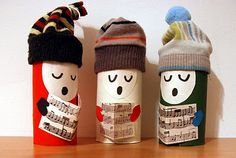 carol singers... made from toilet paper rolls