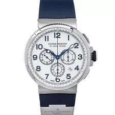 Ulysse Nardin Marine Chrono Date Steel 43mm Blue Strap Mens Watch 1503-150-3/60