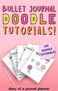 The best step by step bullet journal doodle tutorials bundle to buy! #bulletjournaldoodles #doodles Happy Doodles, Bujo Doodles, Love Doodles, Simple Doodles, Journal Layout, Art Journal Pages, Doodle Drawings, Easy Drawings, Doodle Learn