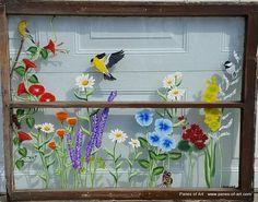 Panes of Art, Hand Painted Window Pane Art, Window Art, Decorative Window Panes, Old Barn Wood Art For Sale pane ideas quotes