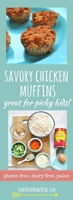 Picky kid on your hands? Chicken muffins to the rescue! These chicken muffins have hidden veggies and are gluten free, dairy free, paleo, and real food ingr Dairy Free Recipes For Kids, Free Kids Meals, Chicken Recipes For Kids, Baby Food Recipes, Diet Recipes, Diet Meals, Healthy Recipes, Crockpot Meals, Dairy Free Diet