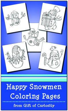 FREE Happy Snowmen Coloring Pages for kids to color in this winter Christmas Activities For Kids, Science Activities For Kids, Winter Activities, Christmas Fun, Preschool Winter, Preschool Learning, Preschool Ideas, Snowman Coloring Pages, Preschool Coloring Pages