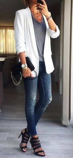 office style obsession / white blazer + top + jeans + bag + heels