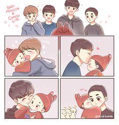 Baby Minseok and Chingu line Fanbook >> https://www.fanbook.me/artwork/1024090 I reallyyy want to draw Baby Minseok eventho I kinda late. Enjoy!