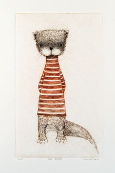 Afternoon Tea No. 8, The Otter, by Minu (New Zealand) . - Two-color drypoint print.