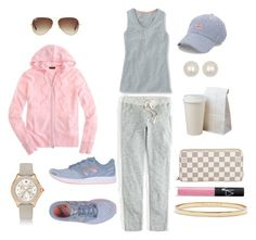 """""""Easy Like Sunday Morning..."""" by pinkngreennblack ❤ liked on Polyvore featuring J.Crew, New Balance, Vineyard Vines, Ray-Ban, Dogeared, Michele, NARS Cosmetics, Louis Vuitton, Kate Spade and cozy"""