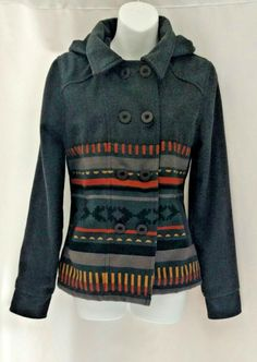 O'Neill Best Friend Aztec Tribal Hooded Double Breasted Pea Coat Jacket Gray M  | Clothing, Shoes & Accessories, Women's Clothing, Coats & Jackets | eBay!