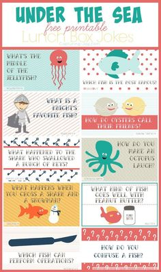 the Sea Kids Lunch Jokes Surprise your little with these Under the Sea free Printable Lunch box jokes! Capturing-Surprise your little with these Under the Sea free Printable Lunch box jokes! Little Muffins, Diy Spring, Funny Jokes For Kids, Kid Jokes, Funny Memes, Summer Jokes For Kids, Farm Jokes, Corny Jokes, Kindergarten