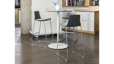 The sturdy, elegant table is available in multiple heights and shapes and can be finished in any laminate or veneer. Open Office, Bar Stools, Contemporary, Pedestal Tables, Inspiration, Furniture, Desks, Home Decor, Shapes