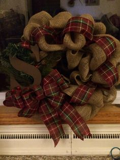 Burlap wreath to go over the mantle!!!