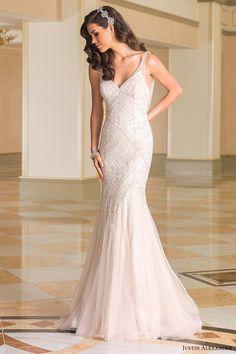justin alexander bridal fall 2016 sleeveless vneck fit flare wedding dress (8872) mv beaded champagne color