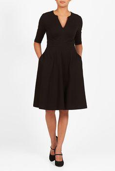 I <3 this Split neck cotton knit dress from eShakti