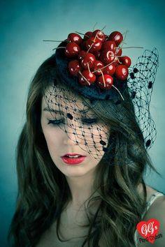 ascot fascinator hat cherries avant garde rockabilly pin-up millinery kitsc