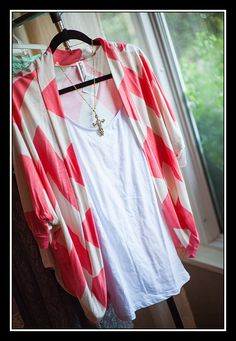 $34 Coral Chevron Dolman Sleeve Cardigan Coral Chevron, Floral Tops, Kimono Top, Cover Up, Sleeves, Clothes, Shoes, Dresses, Women