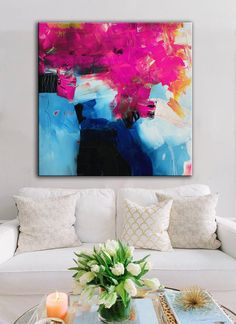 Pink fuschia abstract print, Pink blue white Giclee, square ready to hang art, colorful modern contemporary art, living room decor office - Rosa Fuschia abstrakte Druck rosa blau weiß Giclée Quadrat Contemporary Abstract Art, Contemporary Decor, Colorful Abstract Art, Abstract Landscape, Geometric Art, Modern Art, Art Pour Salon, Living Room Art, Hanging Art