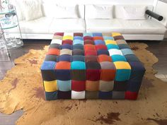 Leather Tufted Square Ottoman Playful Patterned Ottoman by BeSofia Square Ottoman, Tufted Ottoman, Interior Design, Chair, Trending Outfits, Rugs, Business, Handmade Gifts, Leather