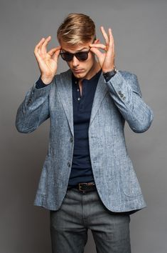 I always love a henley paired with a blazer. Beefs up the casualness of the henley.